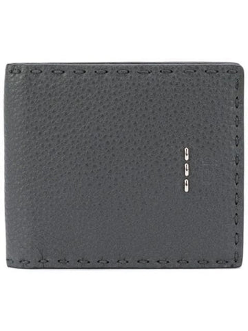Fendi Men's Wallet Selleria Calf Leather Gray Green Palladium Staples 7M0193 at_Queen_Bee_of_Beverly_Hills
