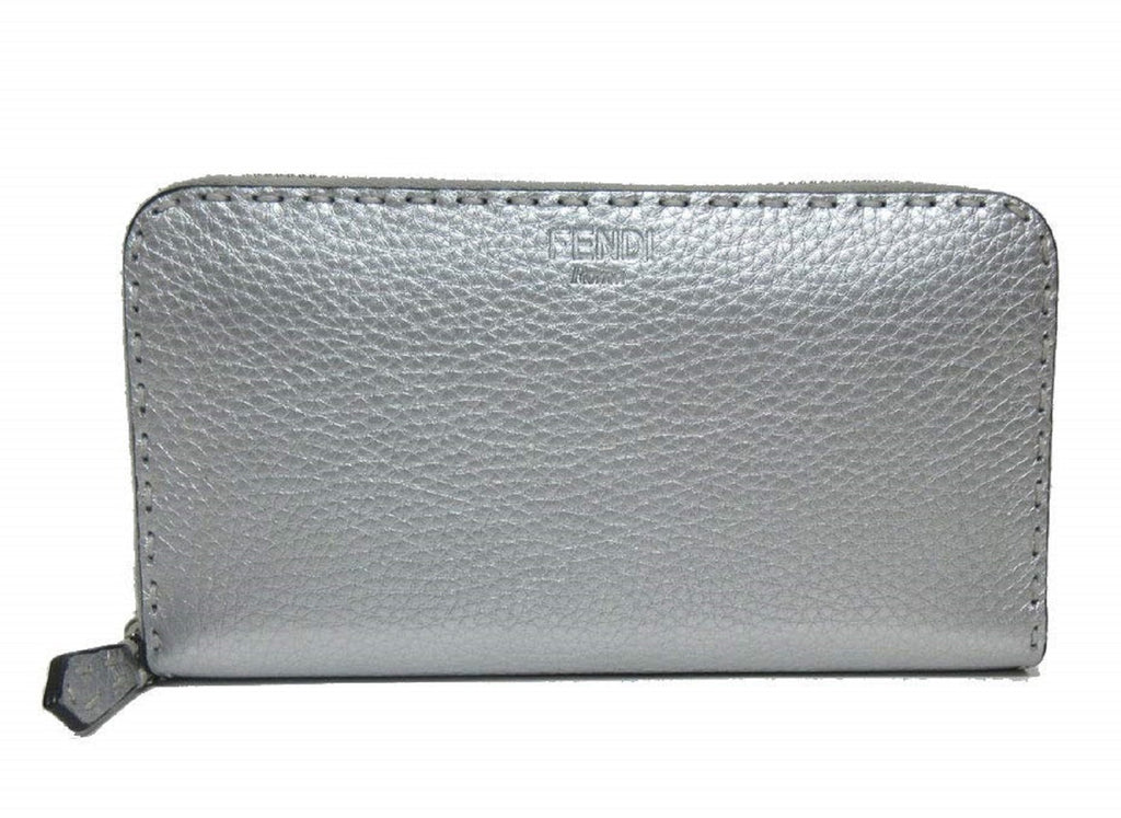 Fendi Metallic Silver Selleria Leather Full Zip Wallet Large 8M0299-5QG at_Queen_Bee_of_Beverly_Hills