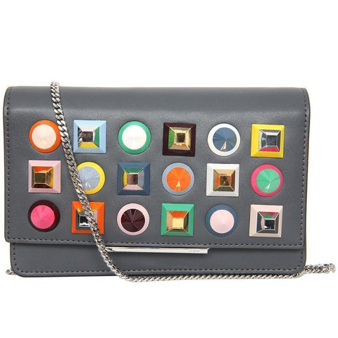 Fendi Mini Bag Clutch Asphalt Gray Leather Multicolor Studs Luxury Bag 8M0346 at_Queen_Bee_of_Beverly_Hills