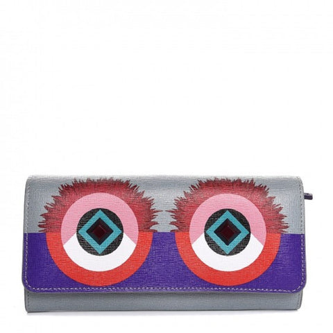 Fendi Monster Long Crayons Powder Blue Multi Color Creature Calfskin Leather Wallet 8M0251 at_Queen_Bee_of_Beverly_Hills