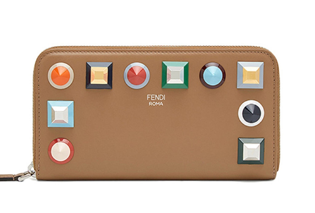 Fendi Rainbow Collection Full Zip Women's Leather Wallet Tan 8M0299 at_Queen_Bee_of_Beverly_Hills