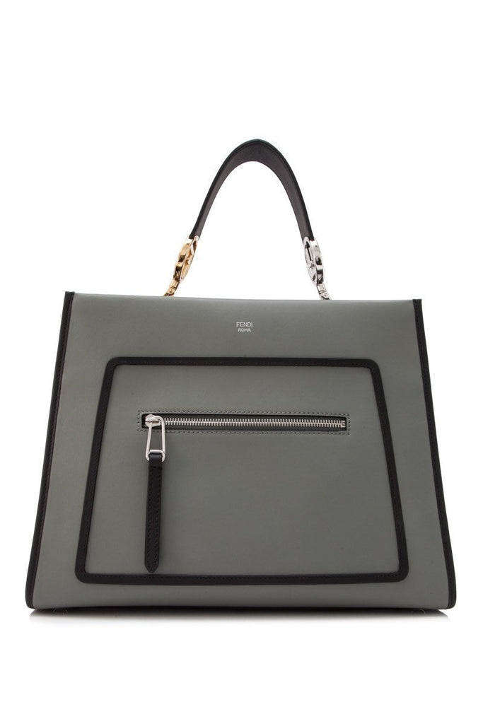 Fendi Runaway Calf Leather Medium Ice Gray Black Trim 2 Way Tote Bag 8BH343 at_Queen_Bee_of_Beverly_Hills