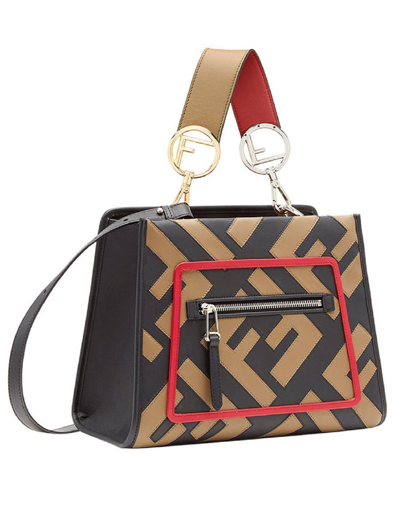 Fendi Runaway Shopping Bag Calf Leather Mud Black Strawberry Color 8BH344 at_Queen_Bee_of_Beverly_Hills