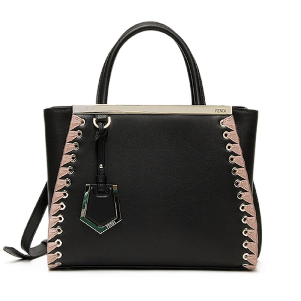 Fendi Shopping Bag 2 Jours Calf Leather Black Pink Lace Up Trim Satchel Tote 8BH253 at_Queen_Bee_of_Beverly_Hills