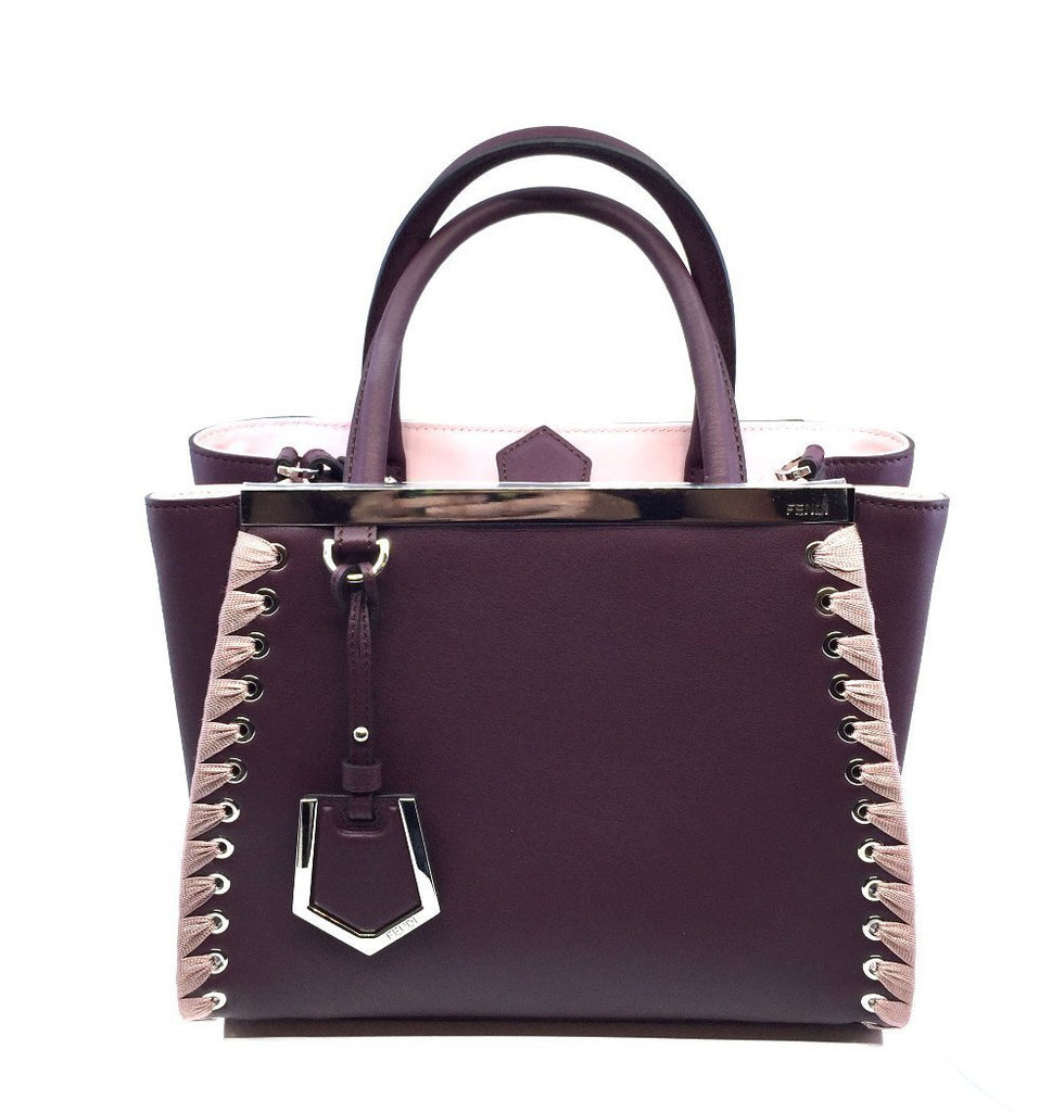 Fendi Shopping Bag 2 Jours Calf Leather Dark Red Doll Pink Trim 8BH253 at_Queen_Bee_of_Beverly_Hills
