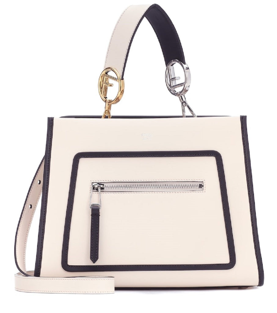 Fendi Shopping Bag Runaway Calf Camelia Cream Beige and Black Leather Shopping tote Handbag w Palladium Hardware 8BH344 at_Queen_Bee_of_Beverly_Hills