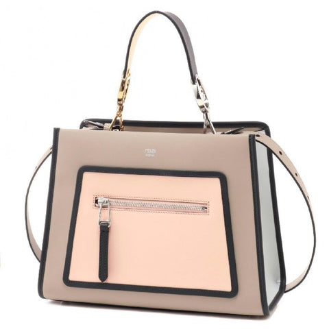 Fendi Shopping Bag Runaway Calf Dove Soap Pearl Gray Beige Two Toned Tote Handbag 8BH344 at_Queen_Bee_of_Beverly_Hills