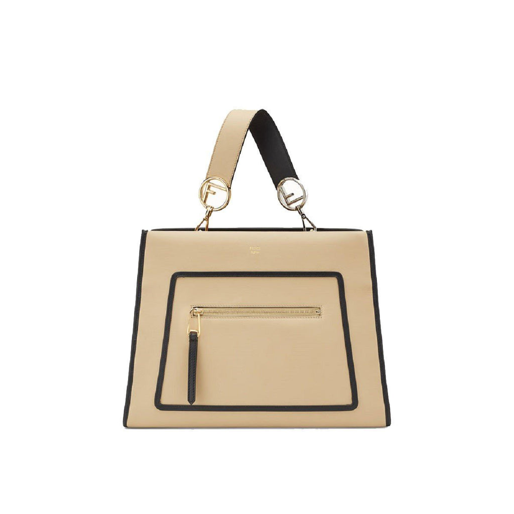 Fendi Shopping Bag Runaway Calf Leather Amido Beige w Black Trim Handbag Tote 8BH343 at_Queen_Bee_of_Beverly_Hills