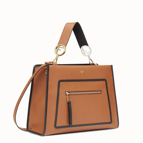 Fendi Shopping Bag Runaway Calf Leather Brown with Black Trim Handbag 8BH343 at_Queen_Bee_of_Beverly_Hills