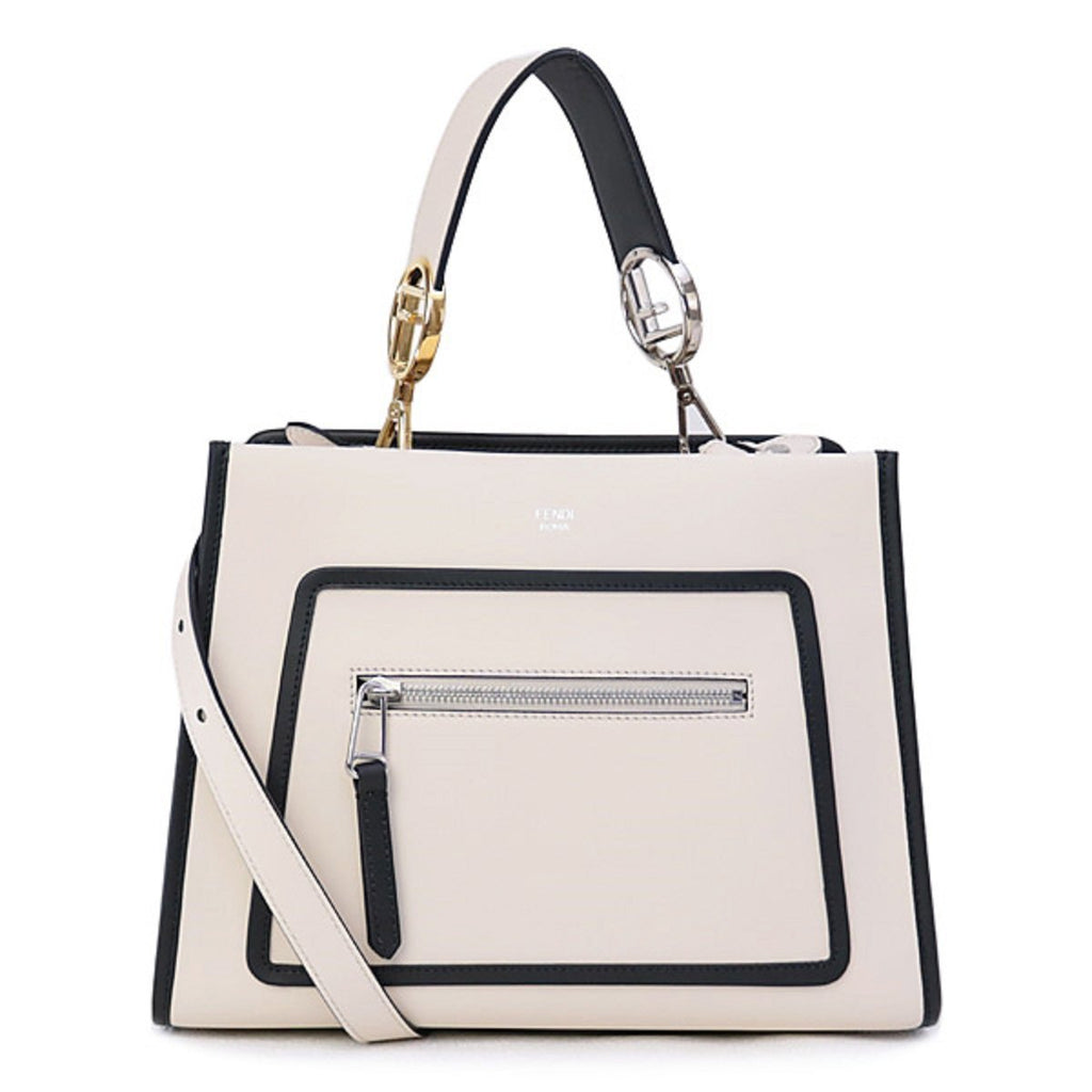 Fendi Shopping Bag Runaway Calf Leather Camelia Cream Black Trim Tote 8BH343 at_Queen_Bee_of_Beverly_Hills