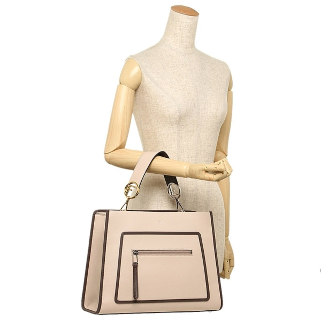 Fendi Shopping Bag Runaway Calf Leather Soap + Moresco tan/ brown Bag 8BH343 at_Queen_Bee_of_Beverly_Hills