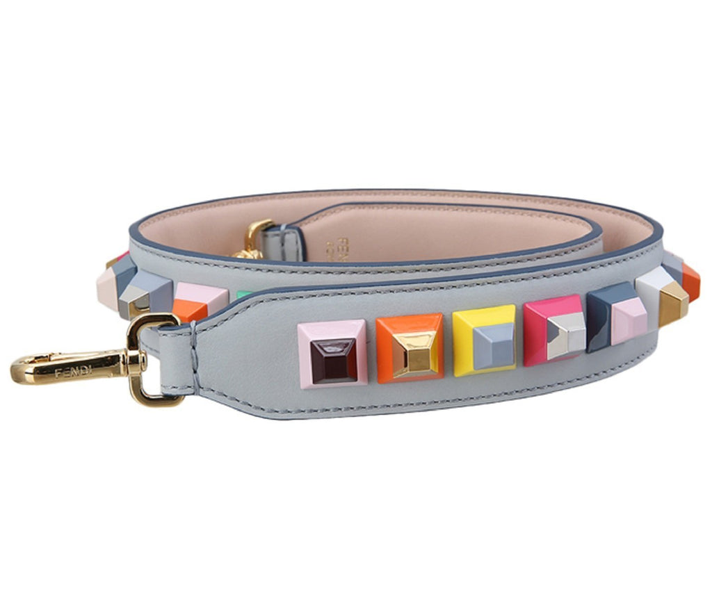 Fendi Shoulder Strap Calf Leather Pearl Gray w Navy Trim Multicolor Studs 8AV077 at_Queen_Bee_of_Beverly_Hills