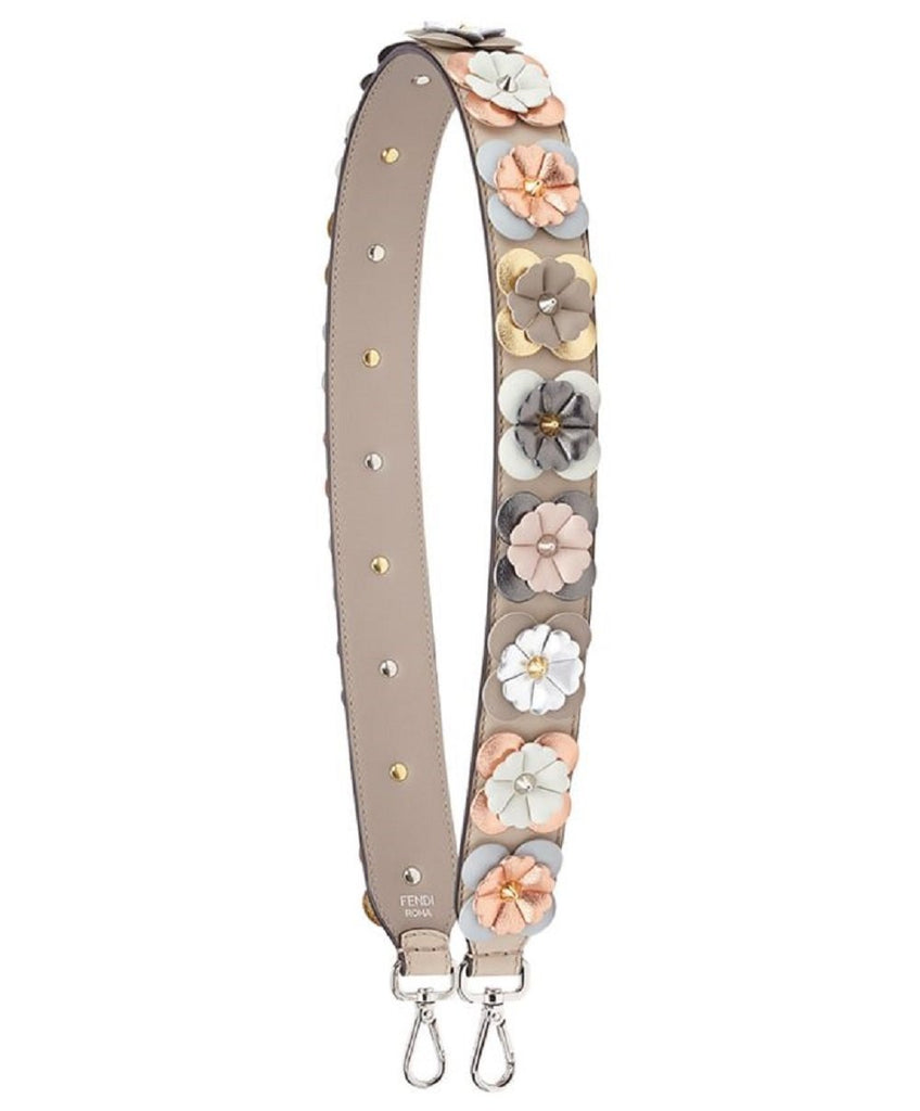 Fendi Shoulder Strap Flowers Calf Leather Cloud Dove Multicolor Metallic 8AV077 at_Queen_Bee_of_Beverly_Hills