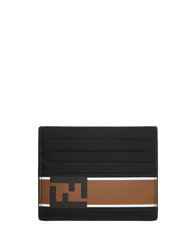 Fendi Signature Calf Leather Black Card Case w Fendi FF Logo and Brown Stripe 7M0164 at_Queen_Bee_of_Beverly_Hills