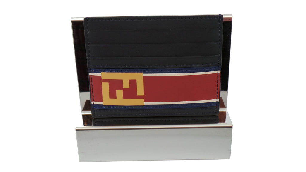 Fendi Signature Calf Leather Black Card Case w Fendi FF Logo and Red Stripe 7M0164 at_Queen_Bee_of_Beverly_Hills