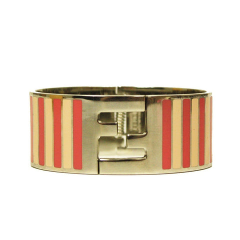 Fendi Silver Enamel Cuff with Pink Stripes Clic Clac Luxury Bracelet 8AG137 at_Queen_Bee_of_Beverly_Hills