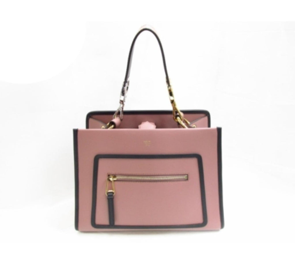 Fendi Small Shopping Bag Runaway Calf Leather Pink English Rose Black Trim 8BH344 at_Queen_Bee_of_Beverly_Hills