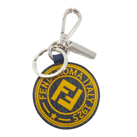 Fendi Stamp Key Charm Calf Leather Blue Stamp Marine Yellow 7AR710 at_Queen_Bee_of_Beverly_Hills