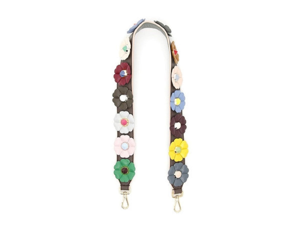 Fendi Strap You Multi Color Flowers Calf Leather Grey Shoulder Strap 8AV077 at_Queen_Bee_of_Beverly_Hills
