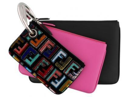 Fendi Triplette FF Zucca Calfskin Three Piece Clutch Bag Pouch Set Multicolor + Geranio 8BS001 at_Queen_Bee_of_Beverly_Hills