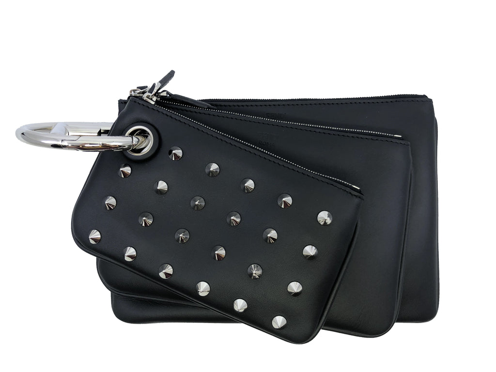 Fendi Triplette FF Zucca Calfskin Three Piece Clutch Bag Pouch Set Silver Stud 8BS001 at_Queen_Bee_of_Beverly_Hills