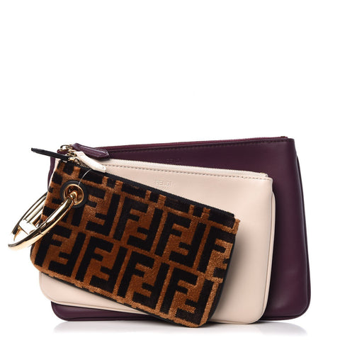Fendi Triplette FF Zucca Calfskin Three Piece Clutch Bag Pouch Set Tobaco Camelia Beige Burgundy 8BS001 at_Queen_Bee_of_Beverly_Hills