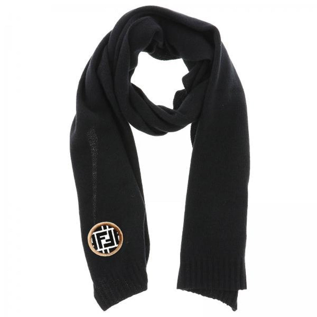 Fendi Unisex Wool Knitted Scarf Black with Fendi Velvet Circle FF Logo One Size FXT251 at_Queen_Bee_of_Beverly_Hills