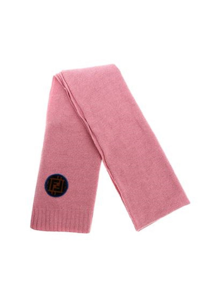 Fendi Unisex Wool Knitted Scarf Pink Fendi Velvet Circle FF Logo One Size at_Queen_Bee_of_Beverly_Hills
