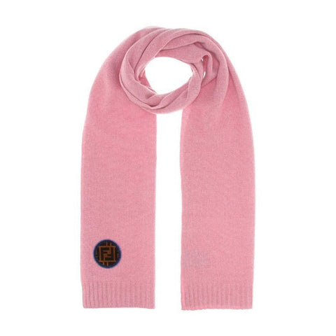 Fendi Unisex Wool Knitted Scarf Pink with Fendi Velvet Circle FF Logo One Size FXT251 at_Queen_Bee_of_Beverly_Hills