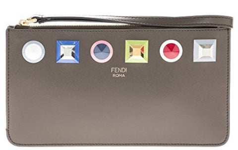 Fendi Women's Asphalt Grey Multicolor Leather Rainbow Stud Pouch Clutch Wristlet Bag 8M0341 at_Queen_Bee_of_Beverly_Hills