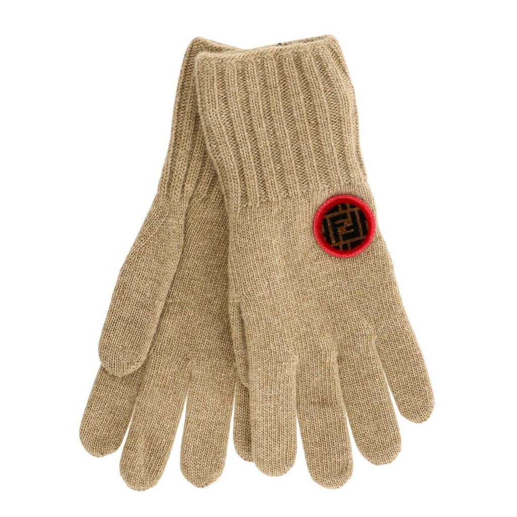 Fendi Women's Beige Knitted Wool Gloves Circle Logo at_Queen_Bee_of_Beverly_Hills