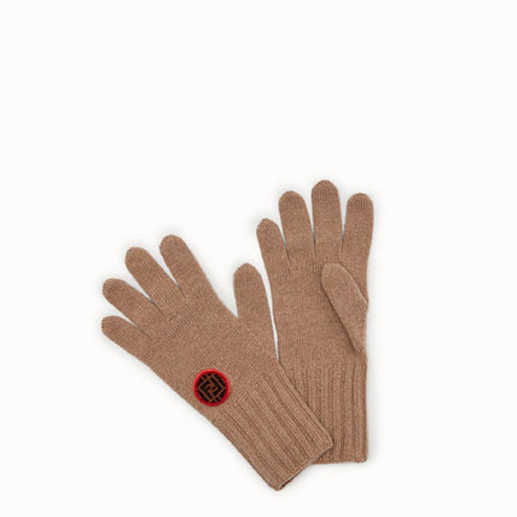 Fendi Women's Beige Knitted Wool Gloves with Fendi Circle Logo FXY554 at_Queen_Bee_of_Beverly_Hills
