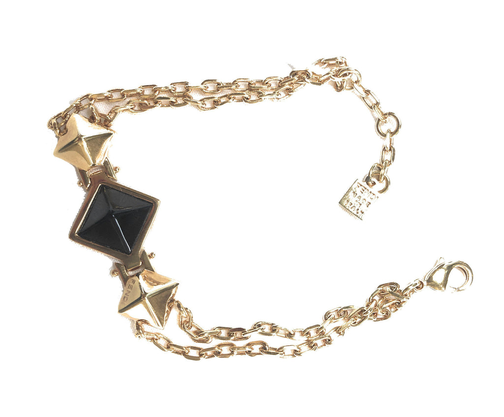 Fendi Women's Black and Gold Diamond Small Gold Bracelet at_Queen_Bee_of_Beverly_Hills