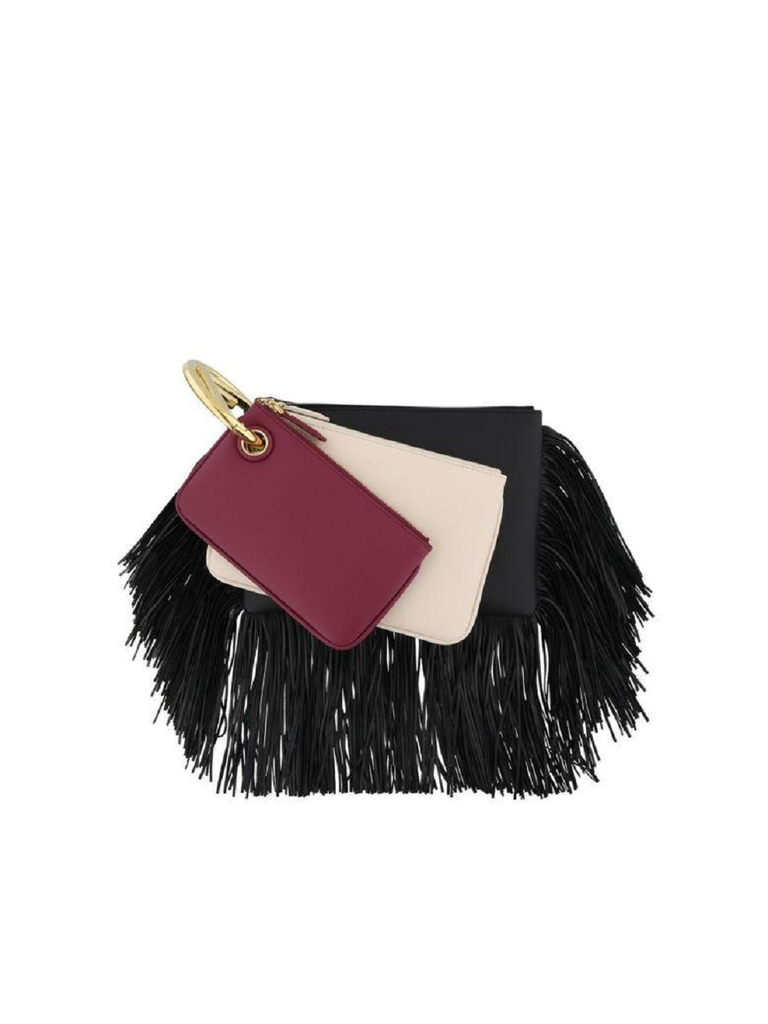 Fendi Women's Black Cherry Leather Fringe Triplette Multi Clutch Handbag at_Queen_Bee_of_Beverly_Hills