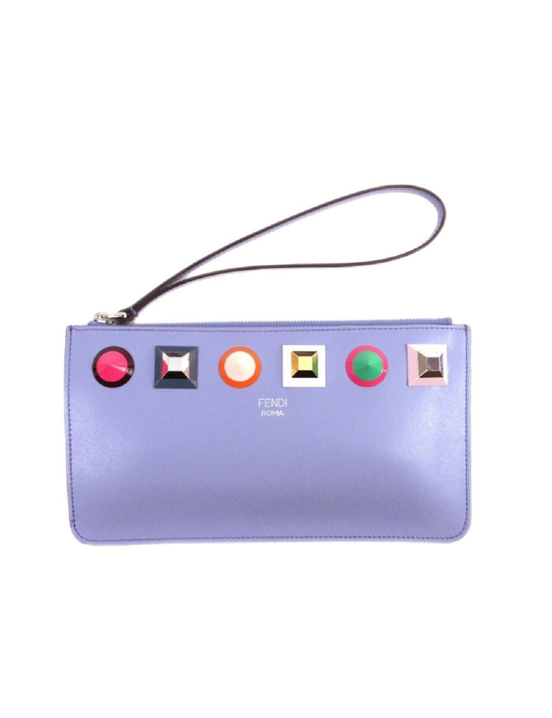 Fendi Women's Blue Leather Rainbow Stud Pouch Clutch Wristlet Bag 8M0341 at_Queen_Bee_of_Beverly_Hills