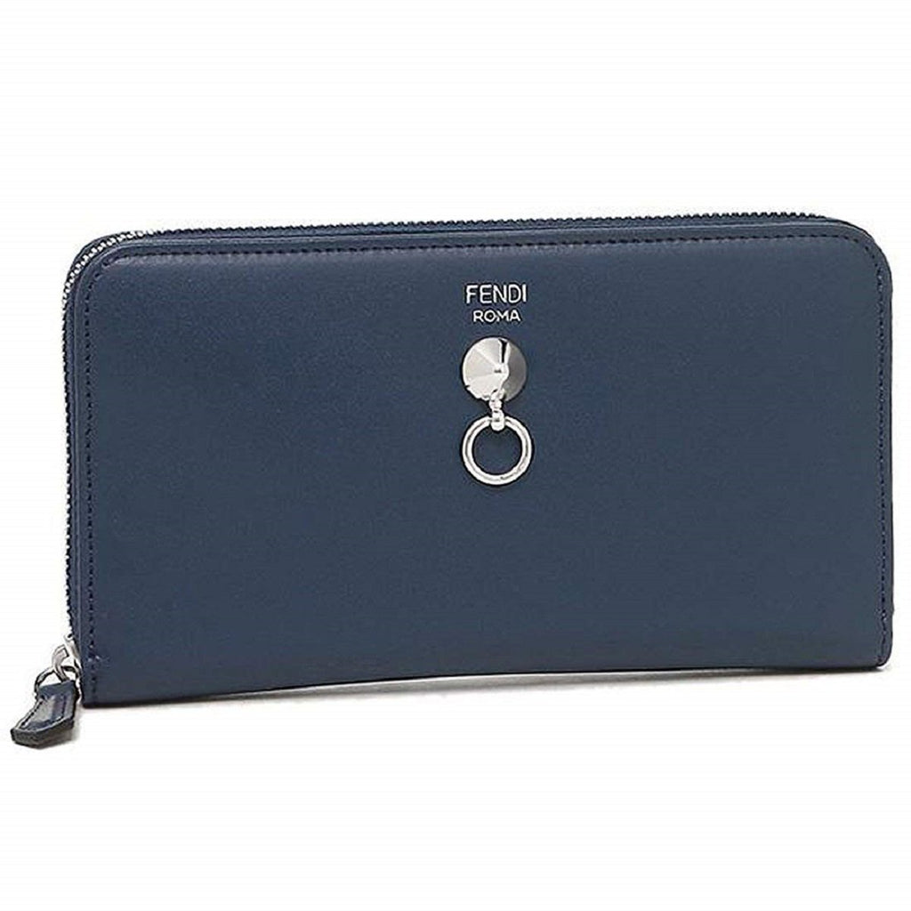 Fendi Women's By The Way Navy Blue Leather Full Zip Wallet 8M0299-F0KR1 at_Queen_Bee_of_Beverly_Hills