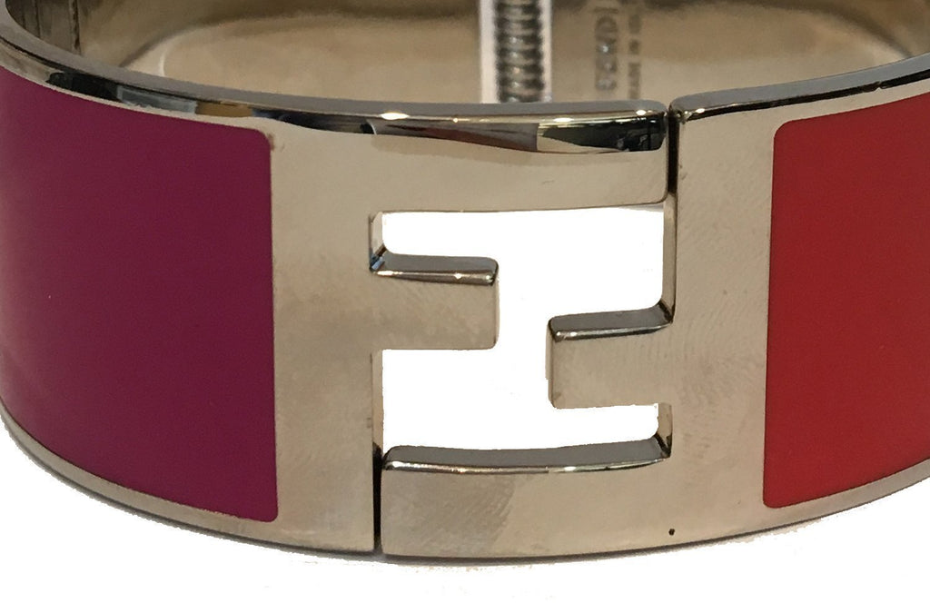 Fendi Women's Classic Fuchsia/Orange Clic Clac Metal Bracelet Large 8AG137 at_Queen_Bee_of_Beverly_Hills