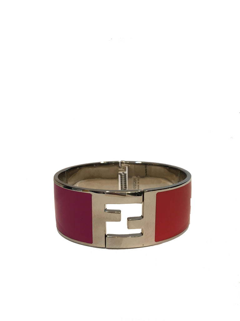 Fendi Women's Classic Fuschia/Orange Clic Clac Metal Bracelet Large 8AG137 at_Queen_Bee_of_Beverly_Hills
