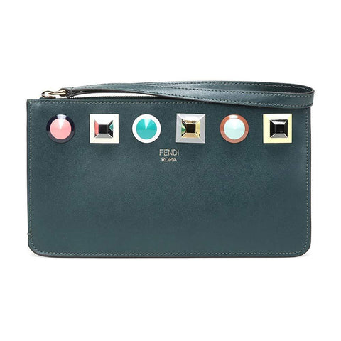 Fendi Women's Dark Green Leather Rainbow Stud Pouch Clutch Wristlet Bag 8M0341 at_Queen_Bee_of_Beverly_Hills