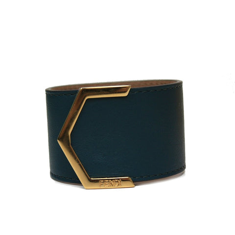 Fendi Women's Leather Dark Teal Cuff Bracelet gold metal dark teal leather 240015 at_Queen_Bee_of_Beverly_Hills