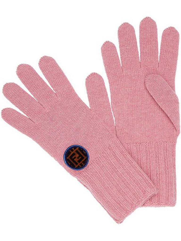 Fendi Women's Pink Knitted Wool Gloves with Fendi Circle Logo FXY554 at_Queen_Bee_of_Beverly_Hills