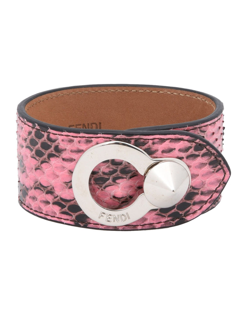 Fendi Women's Pink Python Leather Bracelet Silver Hardware 8AG230 at_Queen_Bee_of_Beverly_Hills