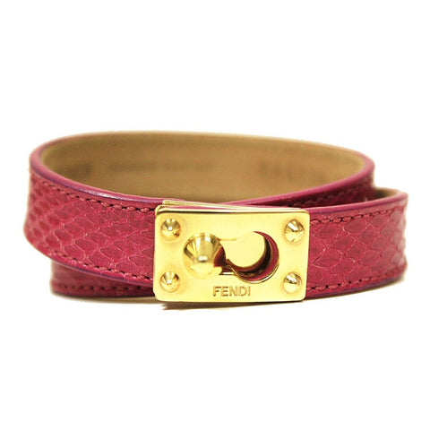 Fendi Women's Pink Python Leather Double Stranded Bracelet Gold Clasp 8AG230 at_Queen_Bee_of_Beverly_Hills