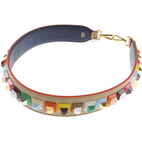 Fendi Women's Strap You Multicolored Studded Leather Shoulder Strap 8AV077 at_Queen_Bee_of_Beverly_Hills