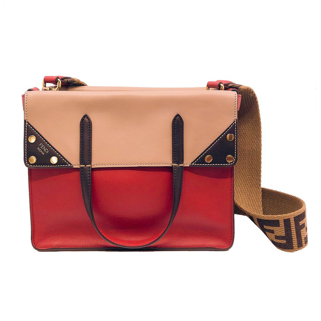 Fendi Womens Flip Calf Leather Fabric Zucca Strap Red Black Brown Satchel Shoulder Bag 8BT302 at_Queen_Bee_of_Beverly_Hills