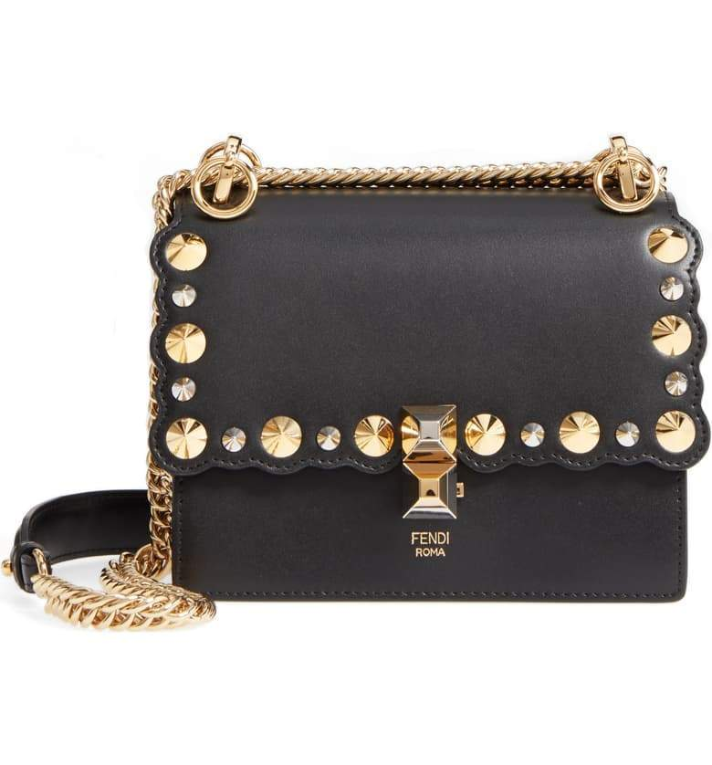 Fendi Womens Kan I Black Gold Silver Studded Calf Leather Shoulder Bag 8M0381 at_Queen_Bee_of_Beverly_Hills