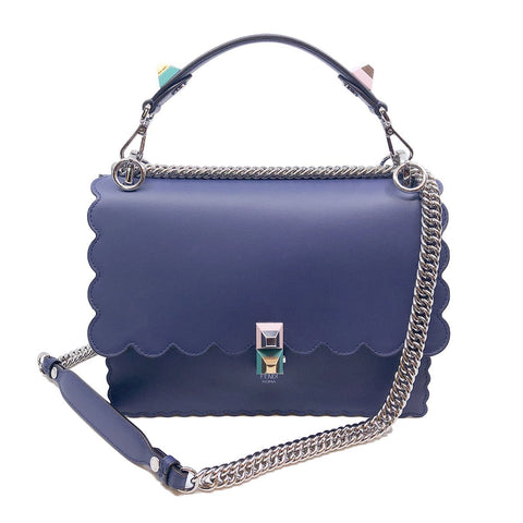 Fendi Womens Kan I Dark Blue Calf Leather Silver Chain Studded Shoulder Bag 8BT283 at_Queen_Bee_of_Beverly_Hills