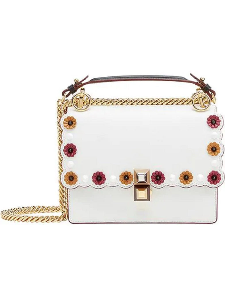 Fendi Womens Kan I White Multi Color Flowers Soft Leather Shoulder Bag 8M0381 at_Queen_Bee_of_Beverly_Hills