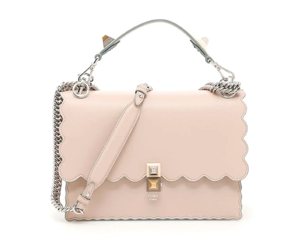Fendi Womens Kani Soft Pink Soap Calf Leather Silver Chain Studded Shoulder Bag 8BT283 at_Queen_Bee_of_Beverly_Hills