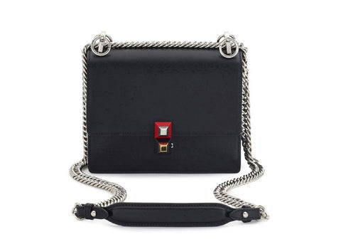 Fendi Womens Mini Kan I Rainbow Black Calf Leather Multi Color Studded Shoulder Bag 8M0381 at_Queen_Bee_of_Beverly_Hills